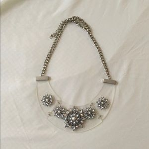 Silver Metal Acrylic Statement Fashion Necklace